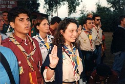 Scouts and Guides from several different countries meet at World Scout Moot in Sweden, 1996