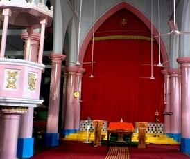 A church of the Syro-Malabar Catholic Church in Kerala, South India still following the Jewish Christian tradition of keeping the Holy of Holies veiled by a red curtain in the tradition of the Ancient Temple of Jerusalem, much like their Orthodox counterparts viz. the Malankara Jacobite Syriac Orthodox Church and the Indian Orthodox Church.
