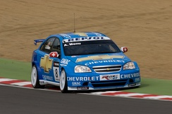 Menu driving the Chevrolet Lacetti WTCC car at Brands Hatch in 2008.