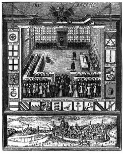 Audience of the Reichskammergericht in Wetzlar, 1750. The Imperial city was saved from oblivion in 1689 when it was decided to move the Imperial Chamber Court to Wetzlar from Speyer, too exposed to French aggression.