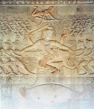 A tug of war between asuras and devas[2] (Angkor Wat, Cambodia)
