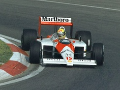 Ayrton Senna won eight races in his McLaren-Honda en route to first Drivers' Championship.