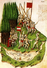 Battle of Morgarten from the Tschachtlanchronik of 1470