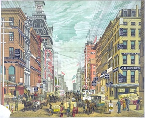 In 1885, the Broadway commercial district was overrun with telephone, telegraph, and electrical lines. This view was north from Cortlandt and Maiden Lane.