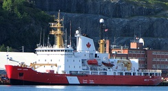 CCGS Henry Larsen in St. John's Harbour, where Canadian Coast Guard vessels use St. John's as a home port.