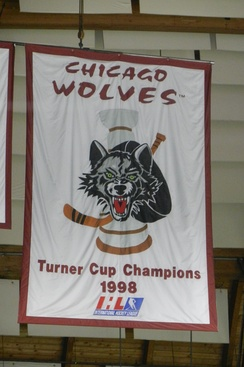 The banner honoring the Chicago Wolves 1998 Turner Cup Championship hanging in the Allstate Arena