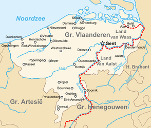 Topographic map of the county of Flanders at the end of the 14th century, the French-Imperial border marked in red