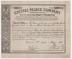 Debenture stock of the Crystal Palace Company, issued on 7 May 1908