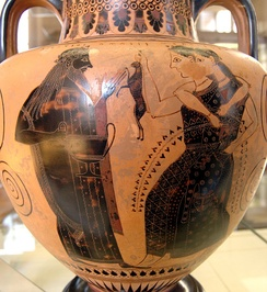 Dionysus and two maenads, one holding a hare, neck amphora, ca. 550/530 BC, from Vulci, now Cabinet des Médailles de la Bibliothèque Nationale de France. The female maenads are shown here only in outline, without opaque white to characterize them as women.