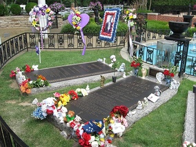 Presley's final resting place on the grounds at Graceland