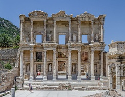 The Library of Celsus in Ephesus was built by the Romans in 114–117 AD.[55] The Temple of Artemis in Ephesus, built by king Croesus of Lydia in the 6th century BC, was one of the Seven Wonders of the Ancient World.[56]