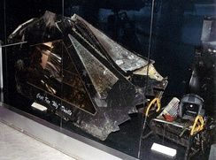 Canopy of F-117 shot down in Serbia in March 1999 at the Museum of Aviation in Belgrade