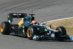 Trulli in pre-season testing for Caterham at Jerez – he was replaced by Vitaly Petrov after this test
