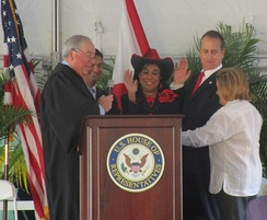 Chief Judge Kevin Michael Moore, swearing in Members of Congress Carlos Curbelo, Frederica Wilson, Mario Díaz-Balart, and Ileana Ros-Lehtinen. (February 2015)