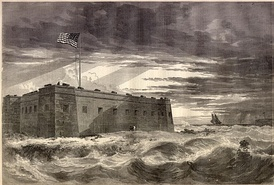 Engraving of wartime Fort Pickens