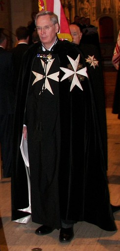 The Duke of Gloucester wearing the mantle of the Grand Prior of the Order at an investiture in the United States, 2006