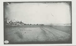 Morris Island South Carolina, photographed by Haas & Peale showing USS New Ironsides in right background September 7, 1863