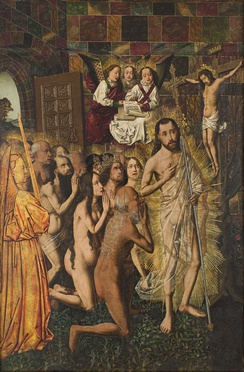 Christ leads the patriarchs from Hell to Paradise, by Bartolomeo Bertejo, Spanish, ca 1480: Methuselah, Solomon and the Queen of Sheba, and Adam and Eve lead the procession of the righteous behind Christ.