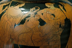 Heracles strangling the snakes sent by Hera, Attic  red-figured stamnos, ca. 480–470 BCE. From Vulci, Etruria.