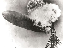 The Hindenburg catches fire, 6 May 1937