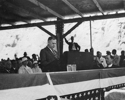 Secretary Ickes addresses the crowd gathered at the dedication of Hoover Dam (then Boulder Dam)