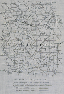 Sketch of the Illinois and Michigan Canal and the proposed Hennepin Canal, showing their relations to the Illinois River, Mississippi River, and Lake Michigan, 1883, in the collection of the National Archives and Records Administration
