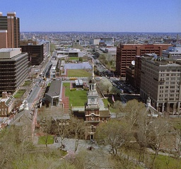 Independence Hall and Independence Mall, 2004.