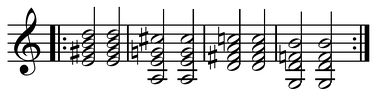 The ragtime progression (E7-A7-D7-G7) often appears in the bridge of jazz standards ( Play (help·info)).[13] The III7-VI7-II7-V7 (or V7/V/V/V - V7/V/V - V7/V - V7) leads back to C major (I) but is itself indefinite in key.