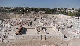 The Holyland Model of Jerusalem in the late Second Temple period. The large flat expanse was a base for Herod's Temple, in the center. The view is from outside the Eastern Wall of the Temple Mount.