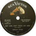Label of an RCA Victor 78 rpm record from the mid to late 1950s. This basic design was also used for most LPs from 1954 to 1964.