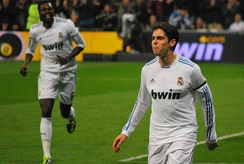 Kaká celebrating a goal with Real Madrid in a 4–1 home victory over Real Sociedad on 6 February 2011