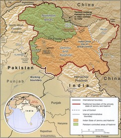 Traditional borders of Jammu and Kashmir (CIA map). The northern boundary is along the Karakash valley. Aksai Chin is the shaded region in the east.