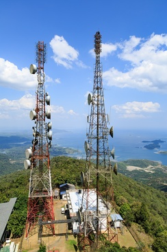 Telecommunication towers atop Mount Silam facing Darvel Bay of Lahad Datu.