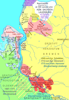 14th to 18th century: territories of the Free City of Bremen (red) and of the Archbishopric of Bremen (yellow); straits between lower Weser and Jadebusen