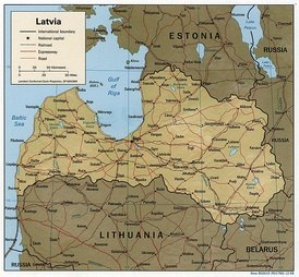 Detailed map of Latvia.