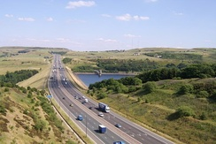 M62 passes Scammonden Water in West Yorkshire