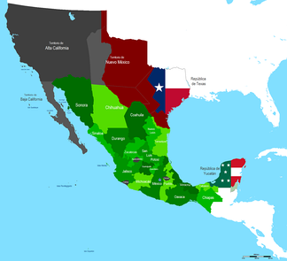 Map of Mexico in 1842