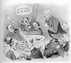 "Asquith's Cabinet Reacts to the Lords' Rejection of the ""People's Budget""—a satirical cartoon, 1909. Prime Minister Asquith's government welcomed the Lords' veto of the ""People's Budget""; it moved the country toward a constitutional crisis over the Lords' legislative powers. (Asquith makes the announcement while David Lloyd George holds down a jubilant Winston Churchill.)"