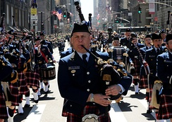 The U.S. Coast Guard Pipe Band in New York during the 2010 St. Patrick's Day Parade