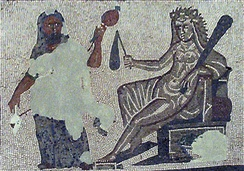 Hercules and Omphale cross-dressed (mosaic from Roman Spain, 3rd century AD)