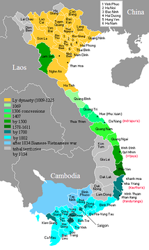 Map of Vietnam showing the conquest of the south (the Nam tiến, 1069–1757).