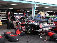 Burton's crew working on his 2004 car