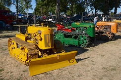 Three Oliver-built crawler-type tractors on display at Antique Powerland, in Oregon