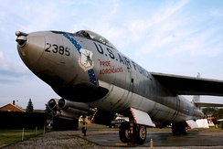 "A B-47 with the inscription ""Pride of the Adirondacks"" on display in the Clyde A. Lewis Air Park"