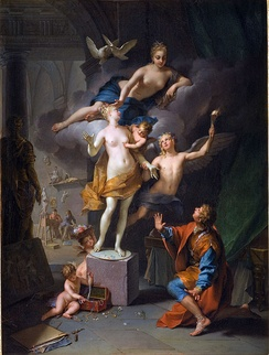 A depiction of the story of Pygmalion, Pygmalion adoring his statue by Jean Raoux (1717)