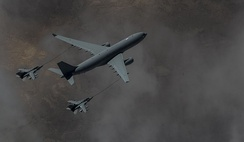 A Voyager tanker refuels two Tornado GR4s over Iraq on 4 March 2015.