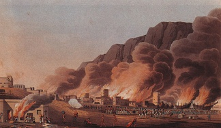 A painting depicting the British sacking of the coastal town and port of Ras Al Khaimah.
