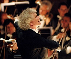 Sir Simon Rattle conducting the renowned Berlin Philharmonic