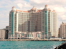 San Stefano Grand Plaza in Alexandria (left) and view from Cairo.