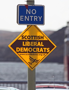 Campaign board for the Scottish Liberal Democrats in Stornoway